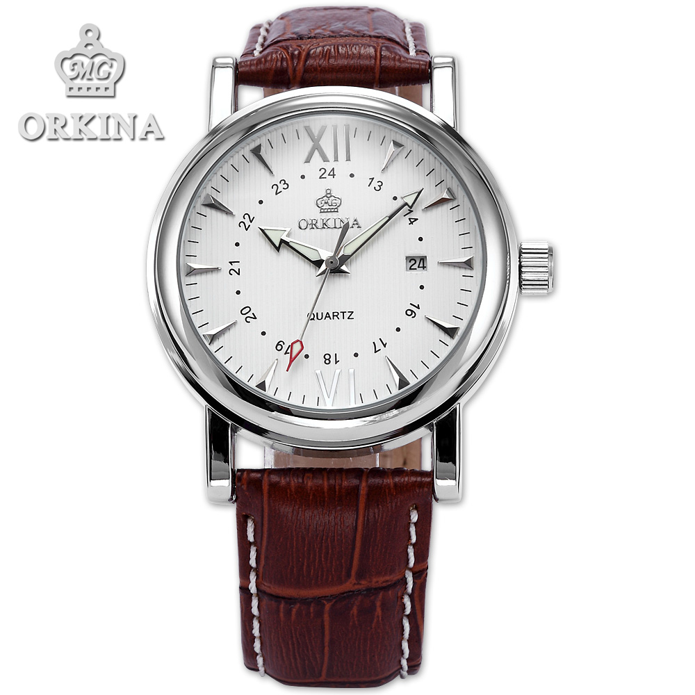 Orkina Brand Classic Brown Leather Silver Case Date Quartz 2016 New Clock Mens Dress Watch Cool Horloges Mannen With Gift Box