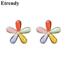 Simple 5 Petal Flower Stud Earrings For Women Girls 2019 New Korean Cute Gift
