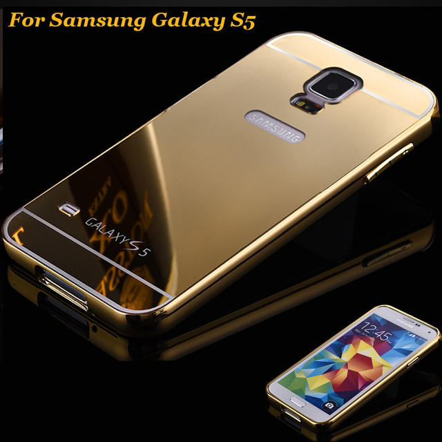 new products 86ed5 848d7 US $4.99 |for Samsung Galaxy S5 i9600 Case Metal Bumper Cases Golden  plating Aluminum Frame+Mirror Acrylic Back Cover 5s black S 5 SM i960-in  Phone ...