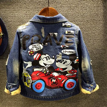 Girls outerwear baby girl clothes 2016 winter autumn fashion Cartoon baby kids jacket long sleeve velvet  girls denim jean coat