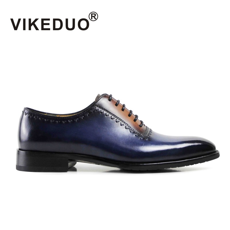 Vintage Retro lace up handmade Mens Oxford Shoes luxury party wedding royal blue 100% Genuine leather shoes handmade To Berluti