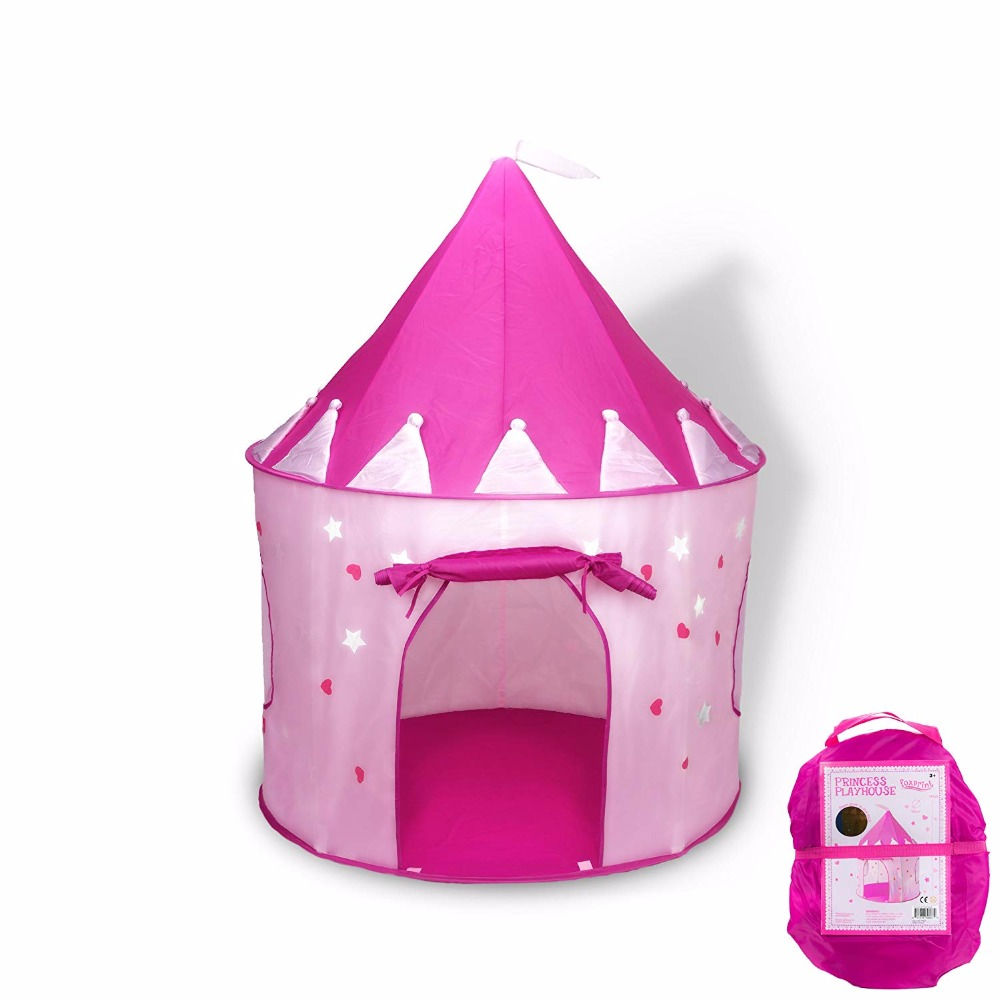 Princess Castle Play Tent with Glow in the Dark Stars For Kids Foldable Pop Up pink play tent/house toy for Indoor & Outdoor Use