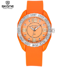 Skone popular geneva silicone rubber jelly candy watches unisex mens womens ladies colorful rosegold dress quartz watches 2017