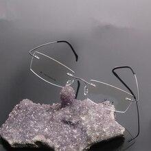 Marcos ópticos sin rebordes marca hombres titanium flexible marcos de anteojos anteojos de oro china llanura sin marco gafas myopia1004