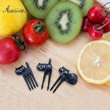 6pcs/set Black Cat Fruit Forks Snack Dessert Forks Food Picks Accessories