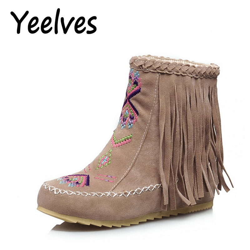 Yeelves Fashion Women Flat Heels Flock Ankle Boots Round Toe Winter Women Snow Boots Ladies Party Tassel Stretch Fabric Boots