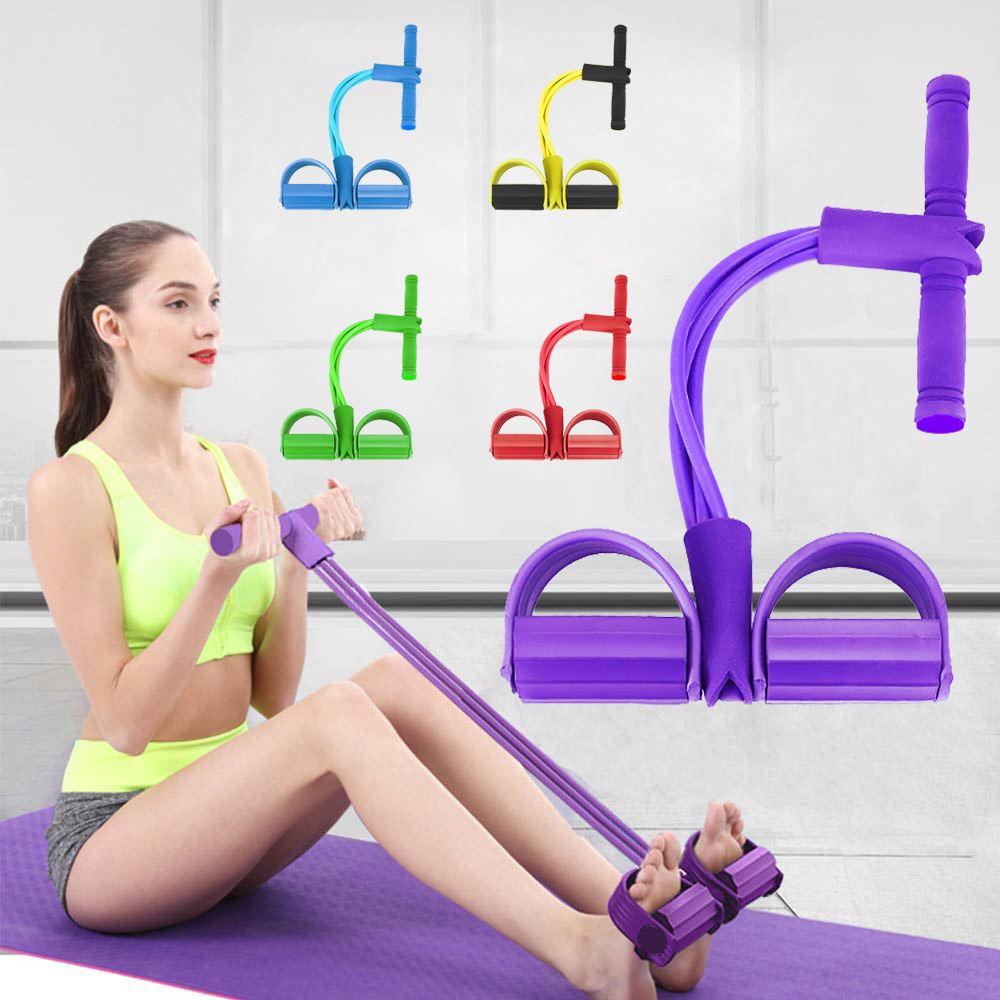 Bodybuilding Expander Latex 4 Tube Foot Elastic Pedal Pull Rope for Indoor Sport