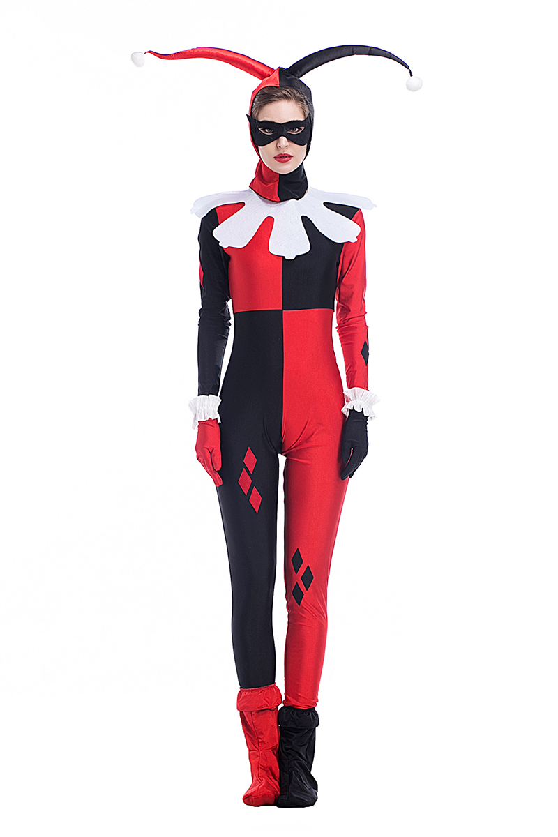 adult women harley quinn evil clown funny costume halloween idea disguise cosplay cool jumpsuit for girls fancy outfit s xxl - Unique Girl Halloween Costume Ideas
