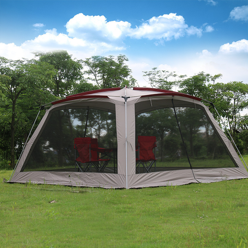 5-8 Poeple Large Luxury Outdoor Beach Tent Camping Portable Party Awning Waterproof Park Three Seasons Single Layer Tente ZP97 luxury large indian singler layer 10persons outdoor camping tent with waterproof and anti wind traveling tent in good quality