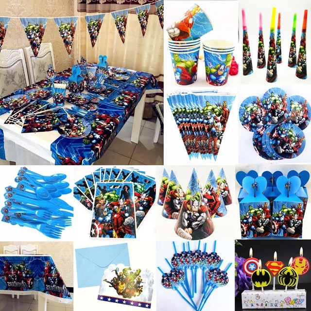 Avengers Kids Birthday Party Decoration Ideas Table Covers Straw Childrenu0027s  Day Baby Shower Disposable Tableware Set