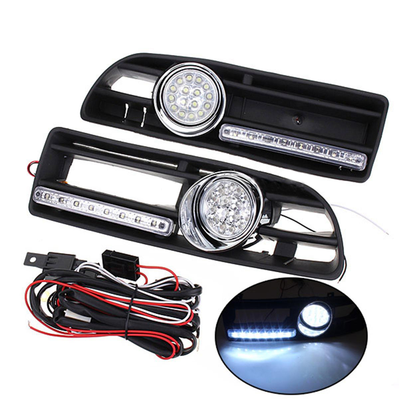 car styling LED Daytime Running Lights Fog Lights With Grills Wiring Combo Auto Accessories For Volkswagen Jetta Bora MK4 auto led car bumper grille fog lamp source bulb drl daytime running driving light for vw volkswagen jetta bora mk4 1999 2004