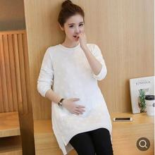 Fashion Polka Dot Maternity Sweater 2019 Autumn Winter Korean Large Size Round Neck Pregnancy Clothes for Pregnant Women QL9609 hot sale polka dot maternity sweaters plus size slim casual spring floral maternity dresses korean pregnancy clothes premama