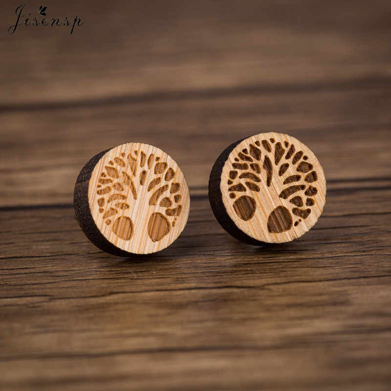 Jisensp Tiny Tree Of Life Earrings Studs Simple Fashion Round Life Tree Wooden Earrings Jewelry for Women Birthday Gift bijoux