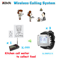 Kitchen Call Waiter Transmitter System With 1 Keypad With 3 Watch Pager For Restaurant Service