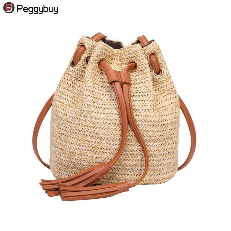 Us 6 84 41 Off Casual Beach Bag Straw Bags Mini Tassel Braided Wicker Cross Body Women Summer Rattan Handbag Fringe Drawstring Bucket In