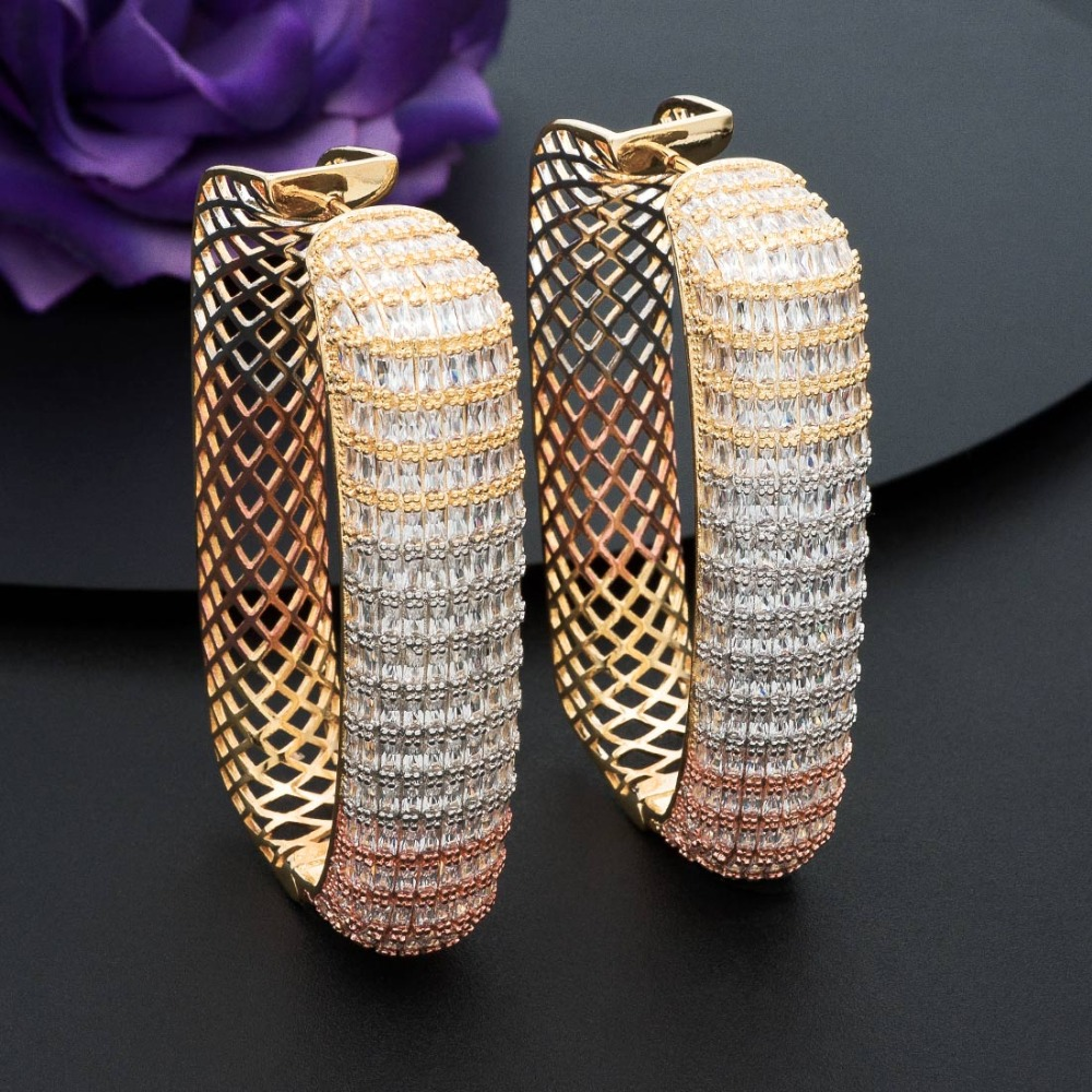ModemAngel Luxury Square Jewelry Full Cubic Zircons Copper 3Tone Mixed Party Earrings Wedding Women Bridals Lady