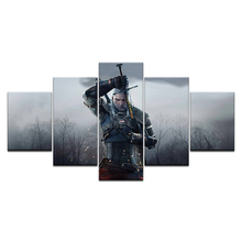 Modern Wall Art Paintings Print Picture Living Room Home Decor 5 Panel Hot Movie Game Witcher 3: Wild Hunt warrior Canvas Poster цена 2017