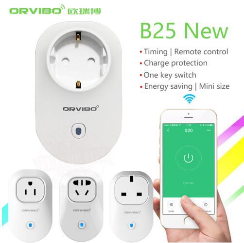 2018 Free Shipping ORVIBO B25 Wifi Smart Socket electrical Power Plug With App control home appliances orvibo wifi s20 ul