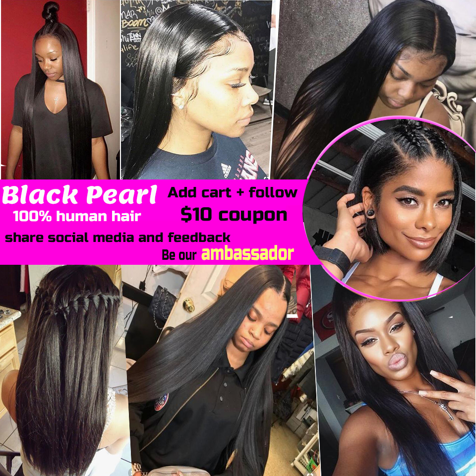 Black Pearl Pre-Colored 360 Lace Frontal with Bundles 4Pcs/lot Straight Human Hair Bundles with Closure Non-Remy Hair Weave