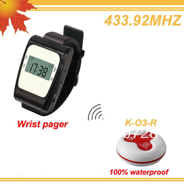433.92MHZ Convenient call Electronic waiter w 1 watch pager and 15 Red 100% waterproof buzzers DHL free shipping free