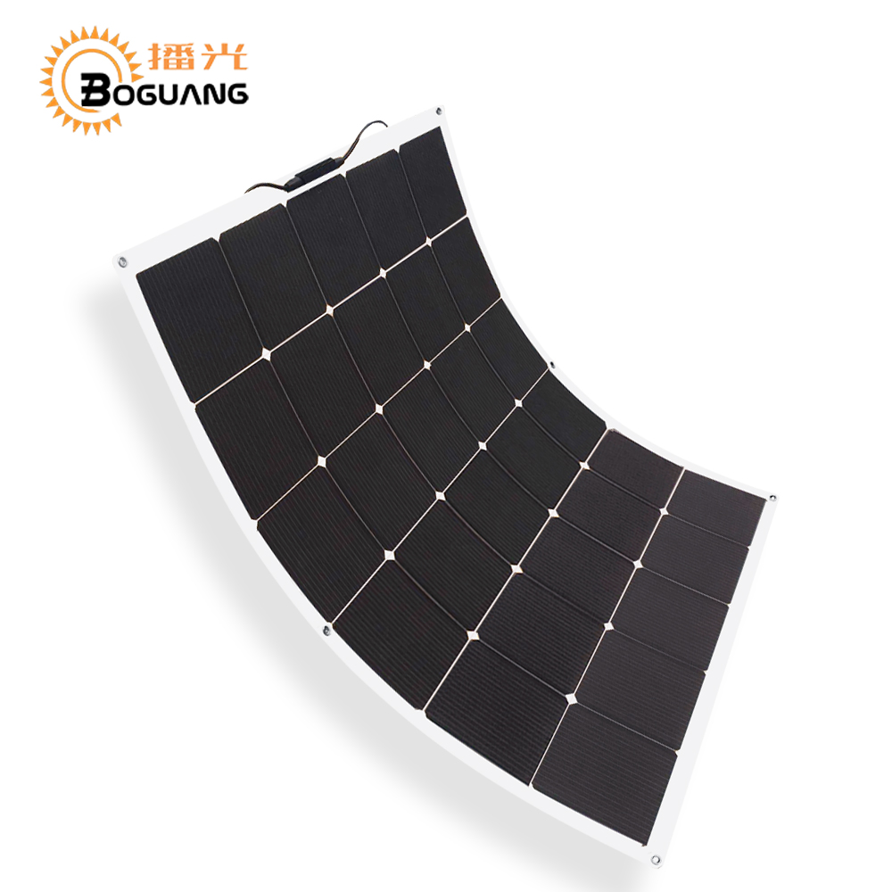 BOGUANG NEW 150w flexible solar panel high effciency cell photovoltaic module 12v battery system kit for RV yacht car charger 50w 12v semi flexible monocrystalline silicon solar panel solar battery power generater for battery rv car boat aircraft tourism