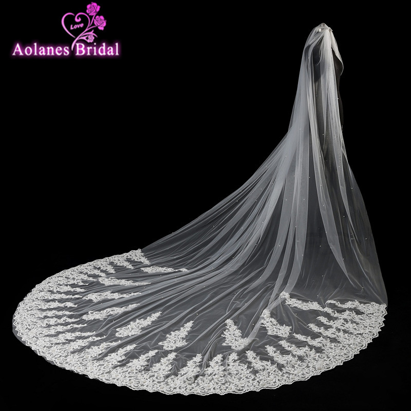 2017 New Real Images High Quality 4 Meter One Layer Elegant Luxury Long Wedding Veil Bridal Veils Pearls Lace Veil Without Comb