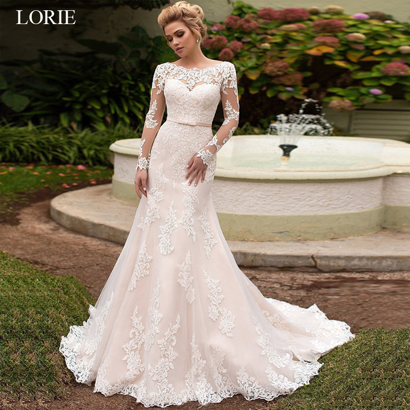 Lorie Lace Wedding Dresses 2019 Appliqued With Lace A Line: LORIE 2019 Illusion Lace Mermaid Wedding Dresses Long