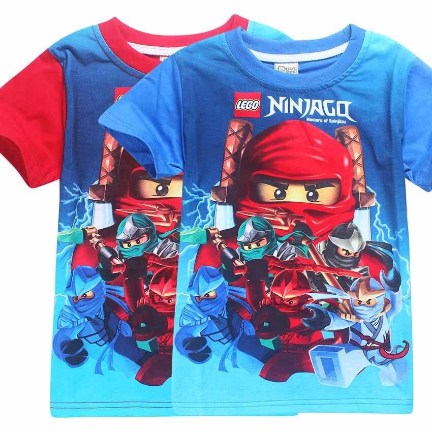 Детские футболки девушки футболки мальчиков одежда Одежда Legoe Ninjago Ниндзя Ninjago Мультфильм Хлопок Футболки lego ninja go Топы Тис ниндзяго мальчик...