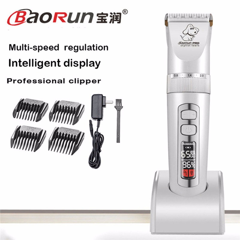 Baorun P9 New Professional LCD Screen Pet Cat Dog Trimmer Electric Rechargeable Grooming Clipper Remover Shaver