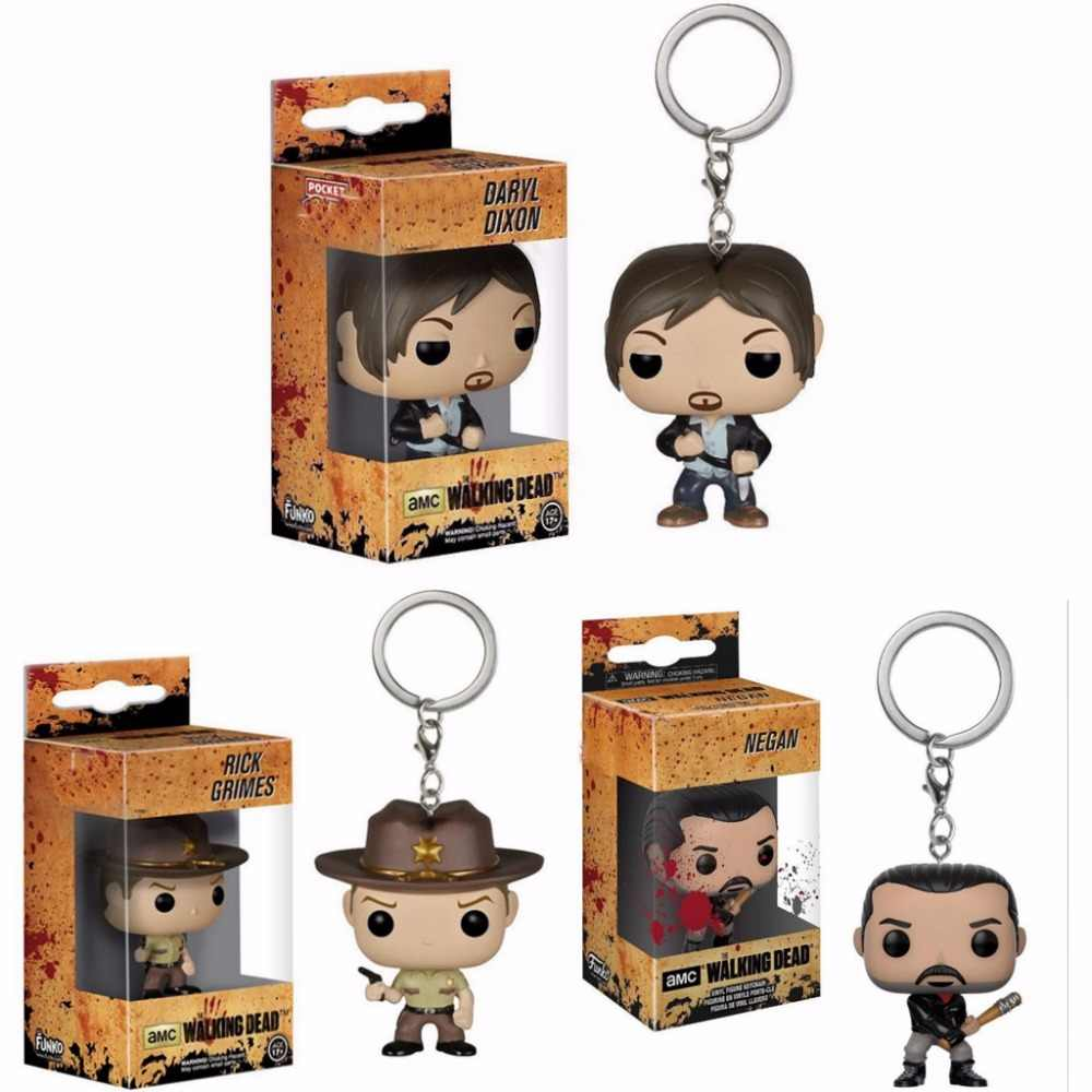The Walking Dead Daryl Dixon Negan Friday the 13th JASON VOORHEES Figuras de Ação Rick Grimes Keychain Brinquedos de Bolso do anel Chave