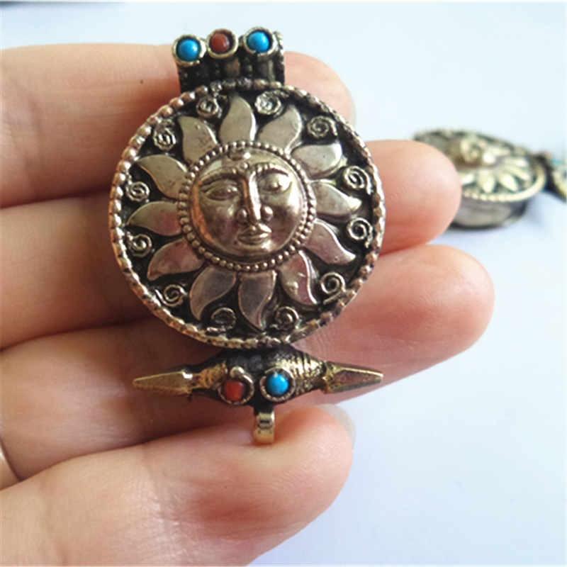 TGB034 Tibet Silber antikisiert Sun God Flower Gebetsbox Tibet GAU - Modeschmuck - Foto 2