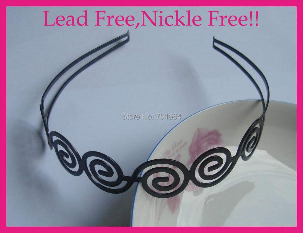 5PCS Spiral pattern Black Plain Metal Hair Headbands at nickle free and  lead free c23040dd5ca