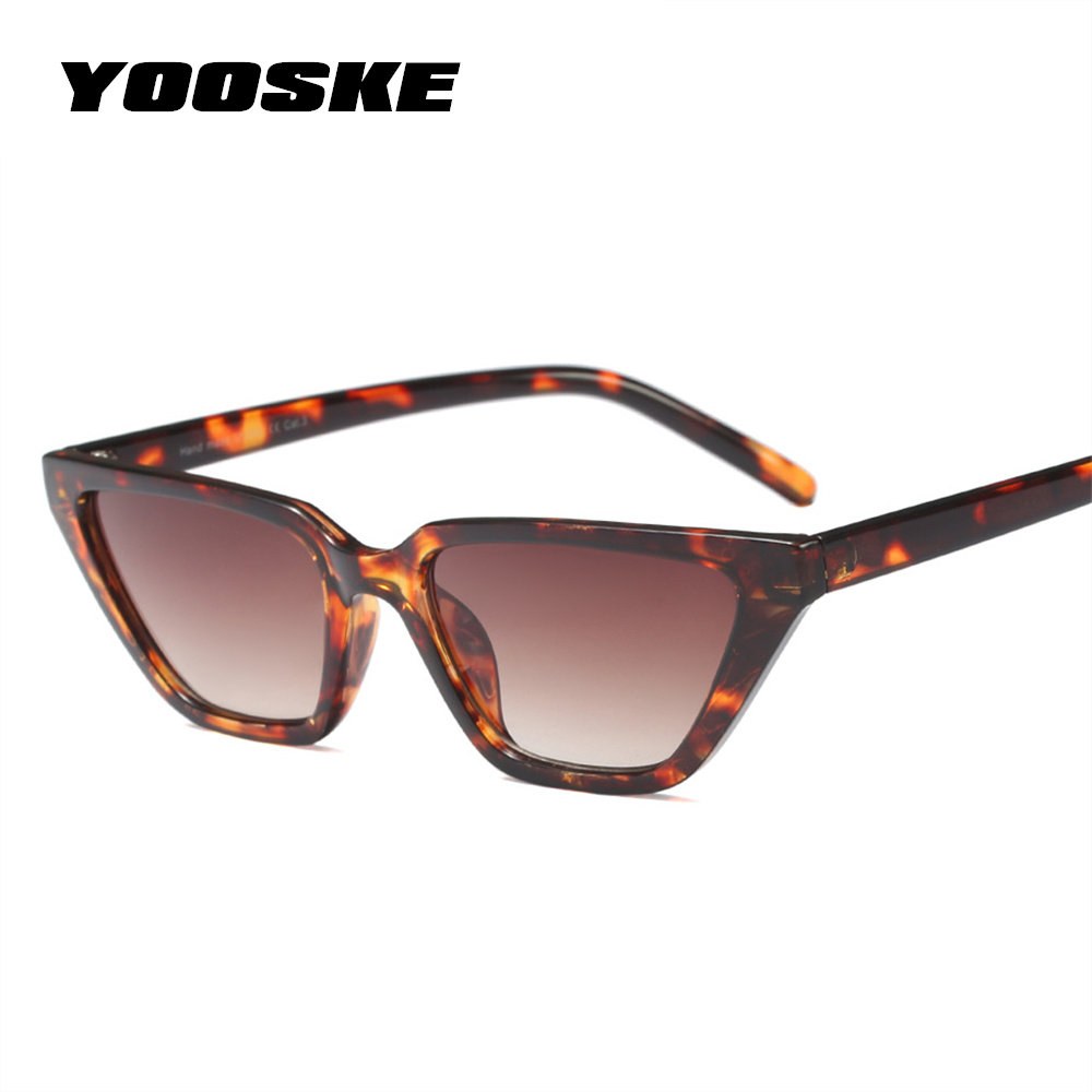 f3b1c764a35 YOOSKE 2018 Cat Eye Sunglasses Women Brand Luxury Sun Glasses Ladies Flat  Top Rectangle Small Frame