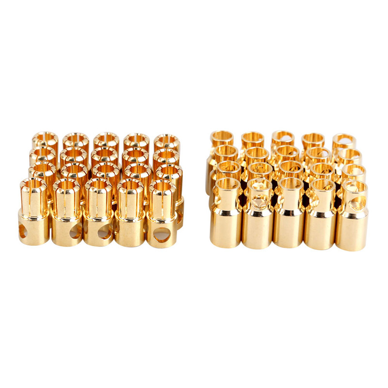 20 Pairs/lot Brushless Motor Banana Plug 6.0mm 6mm Golden Bullet Connector Plated for ESC Battery RC Helicopter Parts 5 5mm bullet banana connect plug with connectors for rc battery golden 20 pair