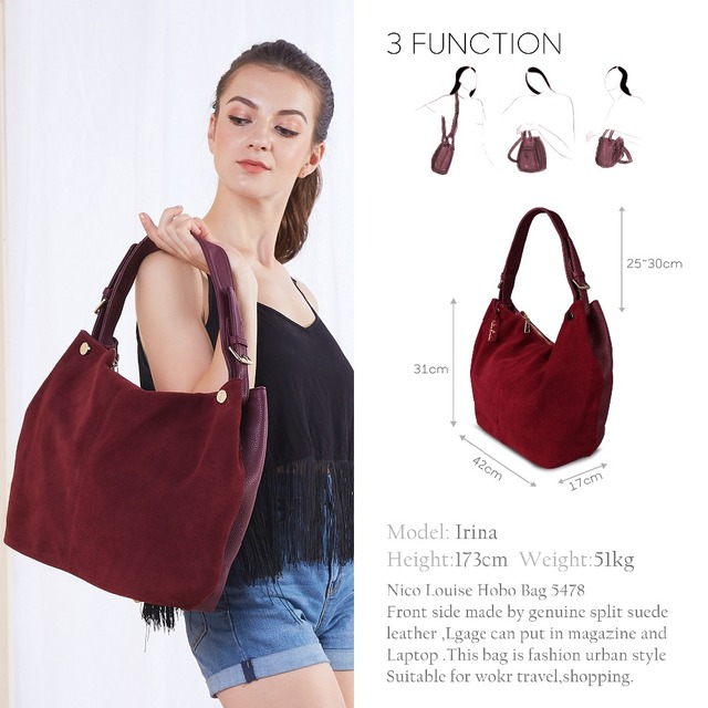 Nico Louise Women Real Split Suede Leather Hobo Bag New Design Female Leisure Large Shoulder Bags Shopping Casual Handbag Sac