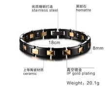 Fashion Health Energy Bracelet Bangle Men and women 316L Stainless Steel Bio Magnetic Bracelets Black And Gold Jewelry