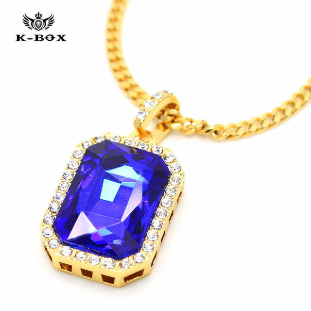 38e74535d60b Mens Iced Out Luxury Pendant Chain Hip Hop Rappers Micro Octagon Square  Saphire Blue Stone Pendant