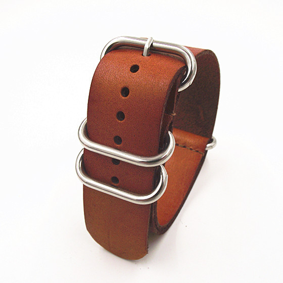 все цены на  zulu strap - 1PCS High quality 24MM Nato strap genuine leather Watch band NATO straps watch strap brown color-110105  онлайн