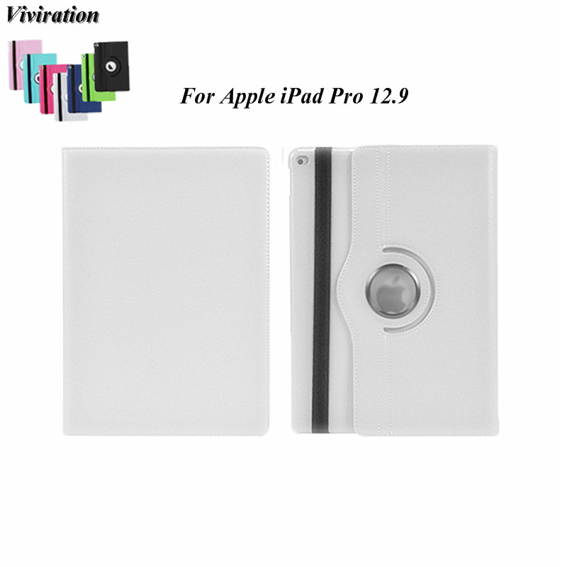 Viviration Folio Flip Stand Tablet PC Case Cover For Apple iPad Pro 12.9 PU Leather 360 Degree Rotating Cover 2017 New Arrival new arrival case for apple ipad mini 1 2 3 ultrathin flip three foldings stand pu leather tablet pc cover shell capa coque