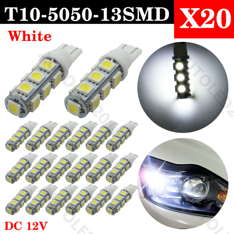 20psc T10 13 SMD 5050 Warm White Car Led Side Turn Signal Light  12V 13led 194 168 W5W Wedge 13SMD Bulbs Interior Lamps 50pcs high quality white t10 13 smd 5050 13led 13smd 194 168 192 auto car side light bulb 194 168 w5w led wedge lamp 12v