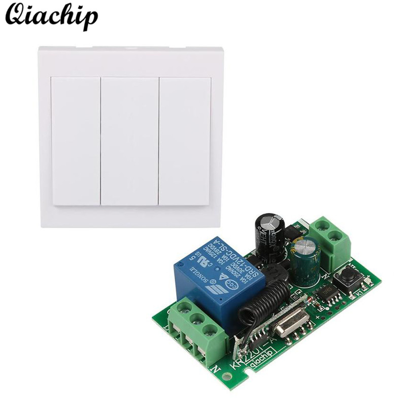 QIACHIP AC 110V 220V 433mhz Smart Home Ceiling Lamp Light LED Bulb Remote Control Switch Wall Panel Transmitter RF Receiver Diy qiachip e27 rf wifi 433mhz wireless smart light led lamp bulb holder smart home app timer for ios android remote control switch