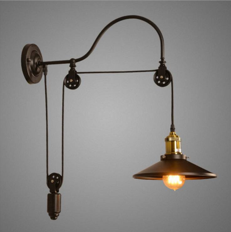 Lamps & Shades Loft Retro Lamp Creative Lifting Pulley Wall Light Dining Room Restaurant Aisle Corridor Pub Cafe Wall Lamp Bra Wall Sconce