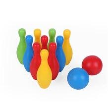 Dropship 17 см образования детей ростом Пластик Набор для боулинга с футбольным мячом и шпильки мини Взаимодействие игрушки для отдыха
