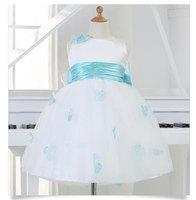 Hot Sale Newborn Baby White Princess Birthday Dresses Blue Bow Belt Wedding Dress for Christmas With Handmade Flower 12 24M