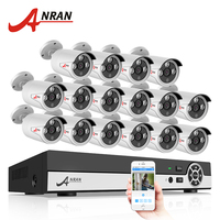 ANRAN 16CH CCTV Camera System 1080N AHD DVR Kit 720P 1800TVL IR Weatherproof Outdoor Camera Home