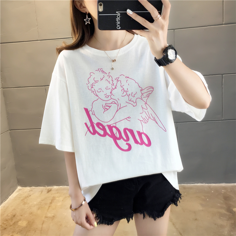 Fashion T Shirt for Women Angel printed Short Sleeved O-neck T-shirts Vintage Vogue Ullzang Tshirt Harajuku 90s Top Tees Female