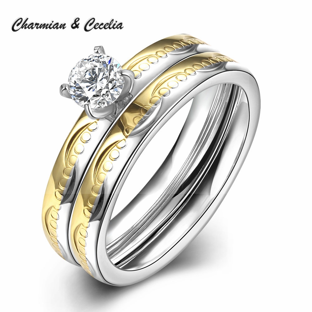 2pcs Stainless Steel Engagement Ring Set High Quality Cubic Zirconia Wedding  Bands Ring Set Promise Rings