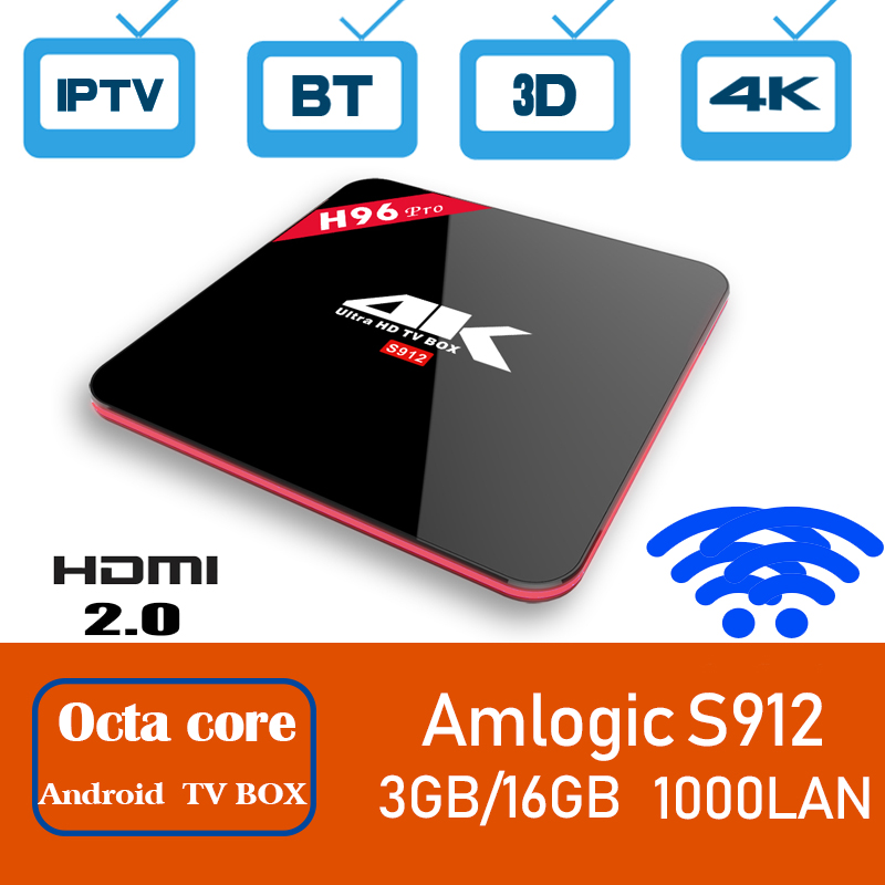 Xinways H96pro android tv box Amlogic S912 Octa-Core smart tv box 3GB RAM 16GB ROM 2.4G/5G Wifi BT 4.1 Smart Set Top Box 4K HD