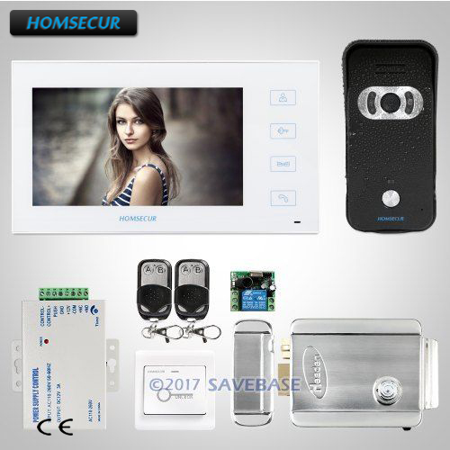 HOMSECUR 1V1 7 Hands-free Video Door Entry Phone Call System+Electric Lock for ApartmentHOMSECUR 1V1 7 Hands-free Video Door Entry Phone Call System+Electric Lock for Apartment