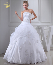 Jeanne Love A Line Strapless Wedding Dresses 2018 Bridal Gowns Applique With Beading White Robe De Mariage Plus Size JLOV75957